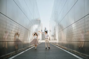 Couple at a Liberty State Park Jersey City Engagement Session at Open Sky Memorial
